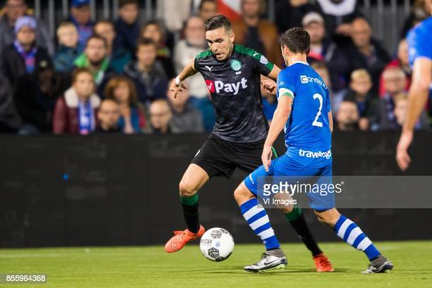 Mimoun Mahi of FC Groningen Bram van Polen of PEC Zwolle during the Dutch Eredivisie match between PEC Zwolle and FC Groningen at the MAC3Park...