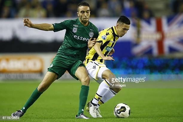 Mimoun Mahi of FC Groningen Mitchell van Bergen of Vitesse Arnhemduring the Dutch Eredivisie match between Vitesse Arnhem and FC Groningen at...