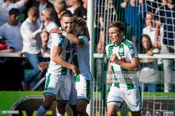 Mimoun Mahi of FC Groningen Ritsu Doan of FC Groningen 11 during the Dutch Eredivisie match between FC Groningen and AZ Alkmaar at Noordlease stadium...