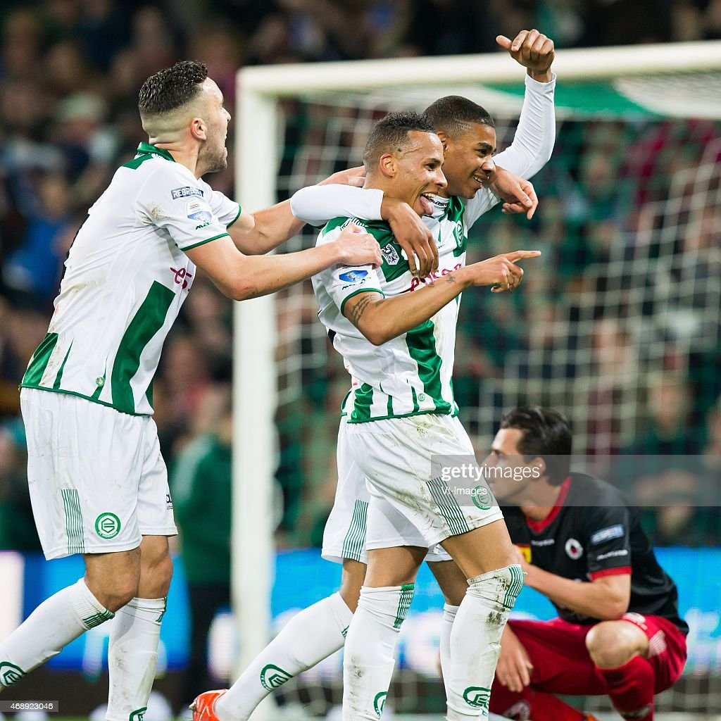 Mimoun Mahi of FC Groningen Tjaronn Chery of FC Groningen Daryl van Mieghem of Excelsior during the Dutch Cup semi final match between FC Groningen...