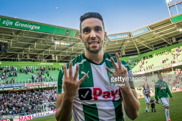 Mimoun Mahi of FC Groningen with a tribute to Abdelhak Nouri of Ajax during the Dutch Eredivisie match between FC Groningen and sc Heerenveen at...