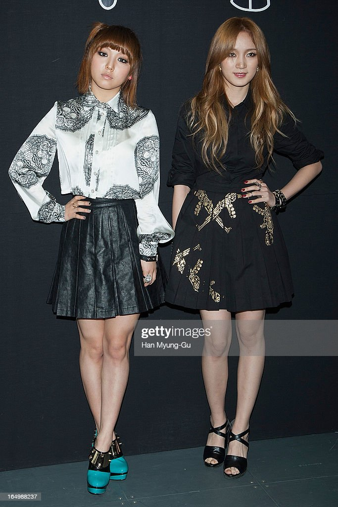 Min and Jia of girl group Miss A attend the 'KYE' show on day four of the Seoul Fashion Week F/W 2013 at IFC Seoul on March 28, 2013 in Seoul, South Korea.