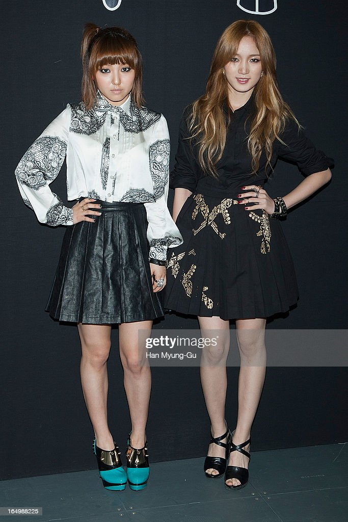 Min and Jia of girl group Miss A attends at the 'KYE' show on day four of the Seoul Fashion Week F/W 2013 at IFC Seoul on March 28, 2013 in Seoul, South Korea.