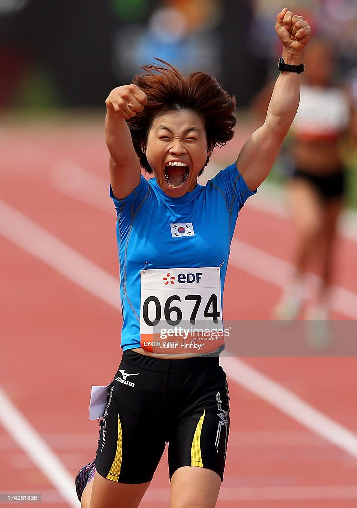 Min Jae Jeon of Republic of Korea celebrates winning the Women's 200m T36 final during day four of the IPC Athletics World Championships on July 23, 2013 in Lyon, France.