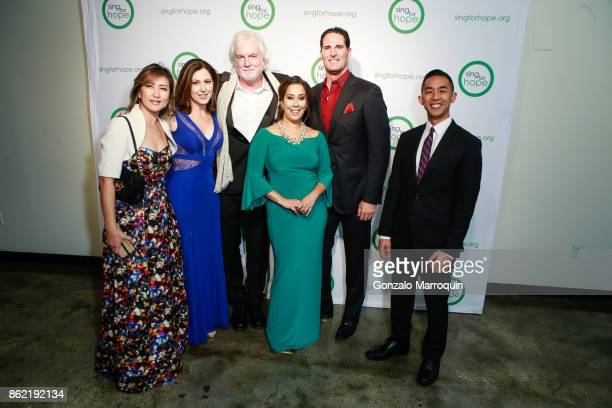 Min Kwon Camille Zamora Bob Aldridge Monica Yunus and James Valenti during the Sing for Hope Gala 2017 at Tribeca Rooftop on October 16 2017 in New...
