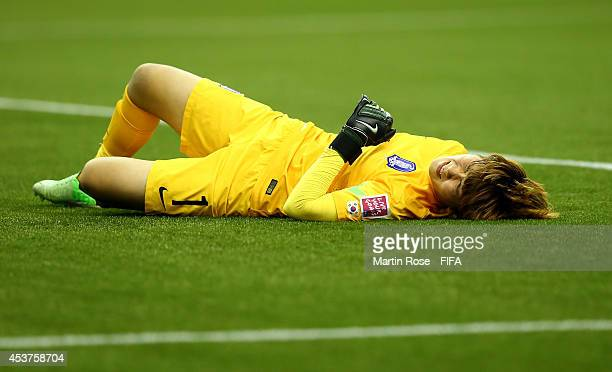 Min Yukyeong goalkeeper of Korea Republic reacts during the FIFA U20 Women's World Cup 2014 quater final match between France and Korea Republic at...