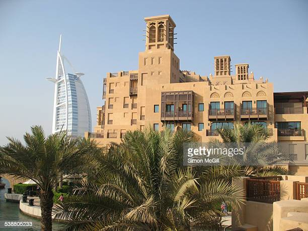 Mina A'Salam a grand boutique hotel that forms the gateway to Madinat Jumeirah Arabian resort Burj Al Arab is in the background Jumeirah Dubai United...