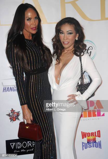 Mina Chae and guest attend Amare Magazine Presents A Black Tie Event featuring cover model Mike O'Hearn held at Hangar 21 on November 14 2017 in...