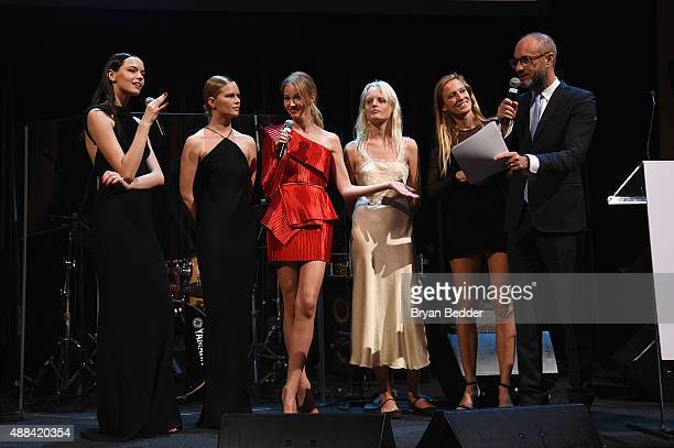 Mina Cvetkovic Anna Ewers Sasha Luss Hanne Gaby Natasa Vojnovic and Andy Boose speak onstage at the Unitas gala against Sex Trafficking at Capitale...