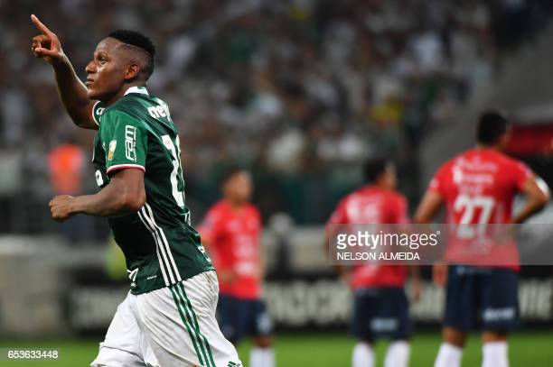 Mina of Brazil´s Palmeiras celebrates his goal against Bolivia's Jorge Wilstermann during their 2017 Copa Libertadores football match held at Allianz...