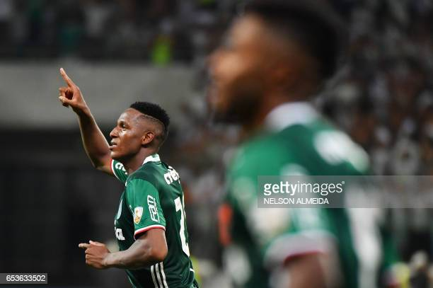 Mina of Brazil's Palmeiras celebrates his goal scored against Bolivia's Jorge Wilstermann during their 2017 Copa Libertadores football match held at...
