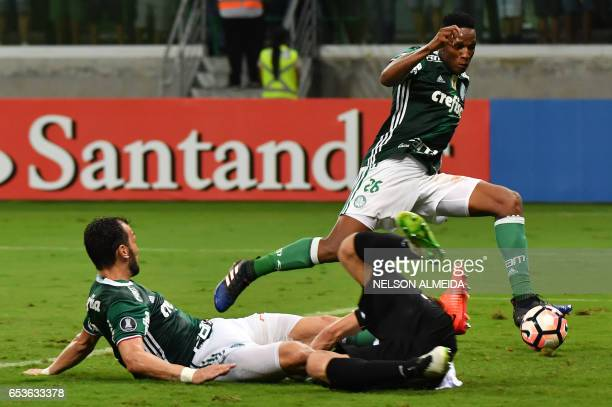 Mina of Brazil's Palmeiras kicks the ball to score against Bolivia's Jorge Wilstermann during their Libertadores Cup football match held at Allianz...