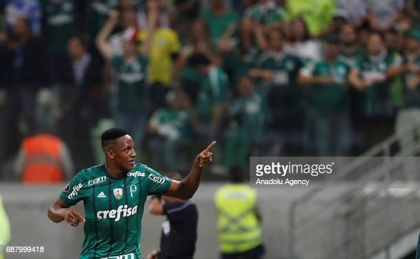 Mina of Palmeiras celebrates after scoring a goal during Copa Libertadores of America match between Palmeiras and Atletico Tucuman in Sao Paulo...