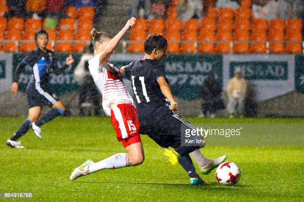 Mina Tanaka of Japan scores her side's second goal during the international friendly match between Japan and Switzerland at Nagano U Stadium on...