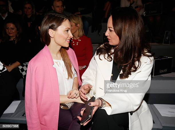 Mina Tander and Natalia attend the Laurel show during the MercedesBenz Fashion Week Berlin Autumn/Winter 2016 at Brandenburg Gate on January 20 2016...