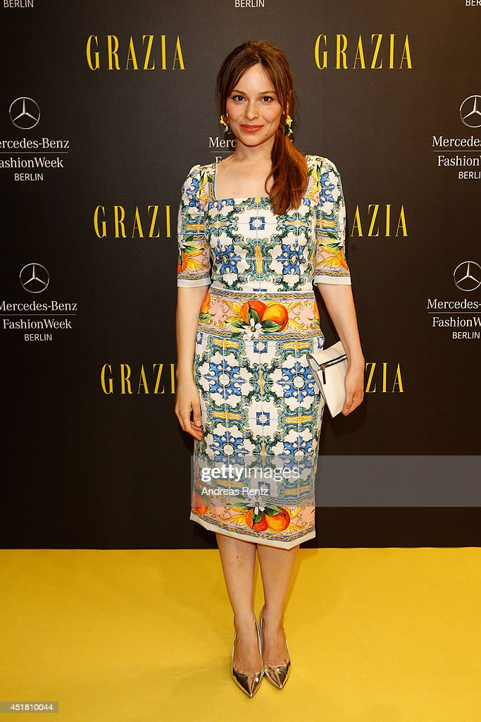 Mina Tander arrives for the Opening Night by Grazia fashion show during the Mercedes-Benz Fashion Week Spring/Summer 2015 at Erika Hess Eisstadion on July 7, 2014 in Berlin, Germany.