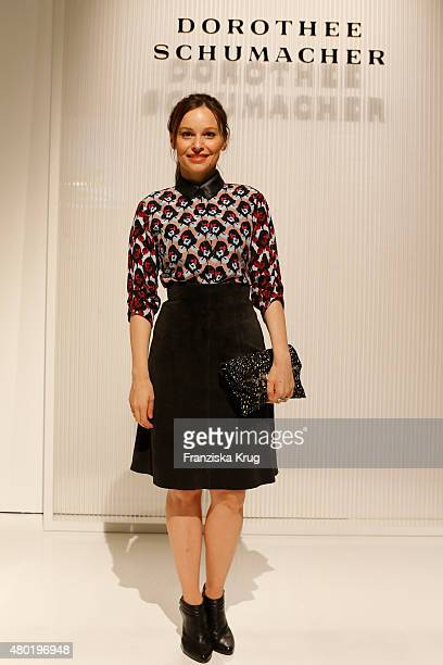 Mina Tander attends the Dorothee Schumacher show during the MercedesBenz Fashion Week Berlin Spring/Summer 2016 at Stage at me Collectors Room on...