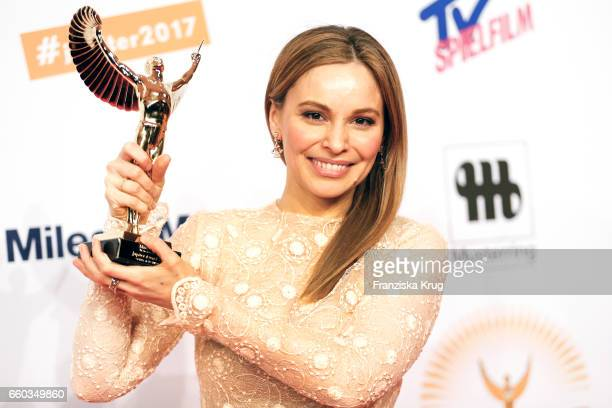 Mina Tander poses with her award at the Jupiter Award at Cafe Moskau on March 29 2017 in Berlin Germany