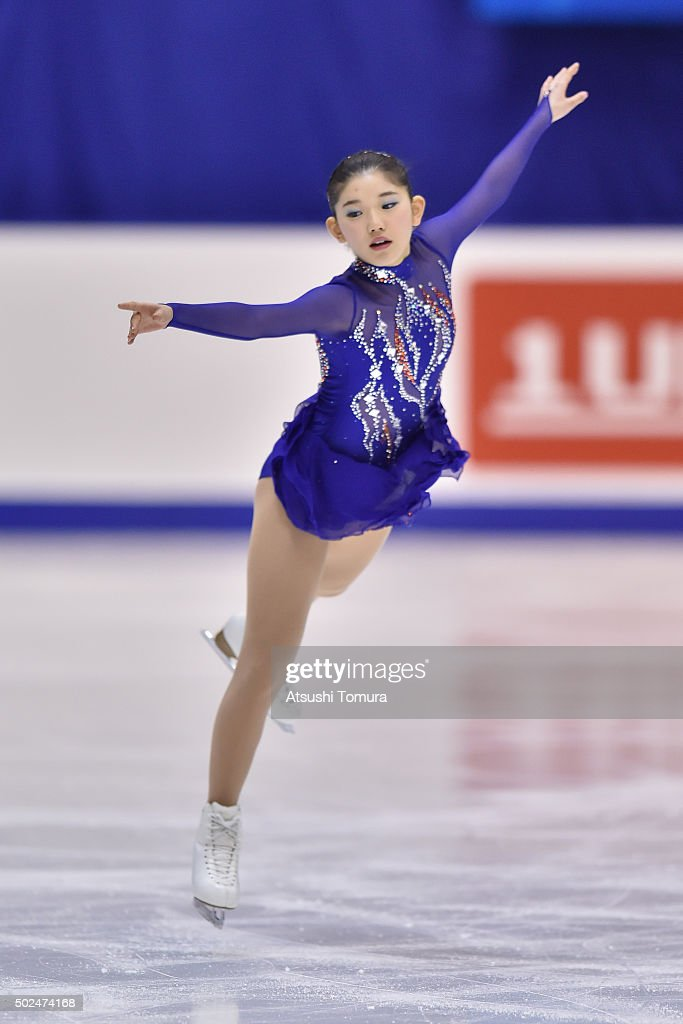 Mina Taniguchi of Japan competes in the ladies short program during the day two of the 2015 Japan Figure Skating Championships at the Makomanai Ice Arena on December 26, 2015 in Sapporo, Japan.