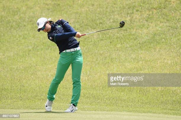 Minami Hiruta of Japan hits her second shot on the 6th hole during the final round of the Yonex Ladies Golf Tournament 2016 at the Yonex Country Club...