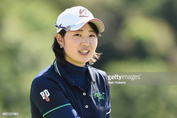Minami Hiruta of Japan looks on after her putt on the 18th green during the final round of the Yonex Ladies Golf Tournament 2016 at the Yonex Country...