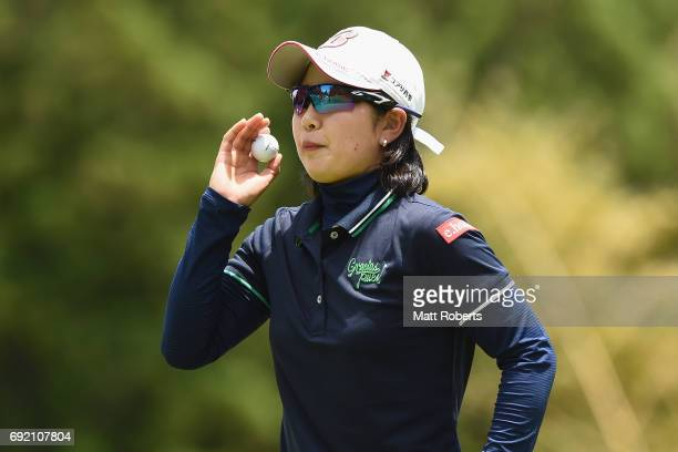 Minami Hiruta of Japan looks on during the final round of the Yonex Ladies Golf Tournament 2016 at the Yonex Country Club on June 4 2017 in Nagaoka...