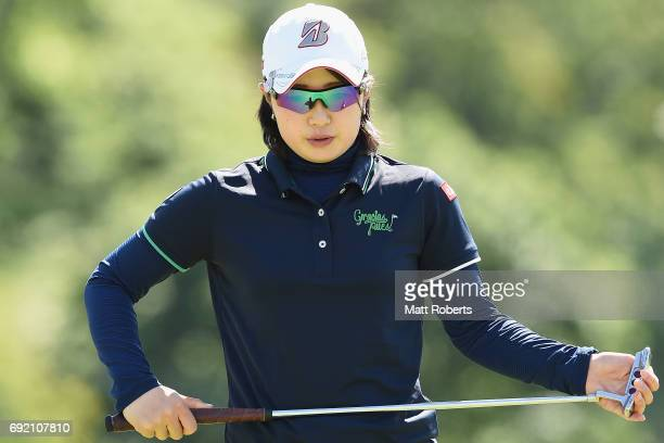 Minami Hiruta of Japan prepares to putt on the 18th green during the final round of the Yonex Ladies Golf Tournament 2016 at the Yonex Country Club...
