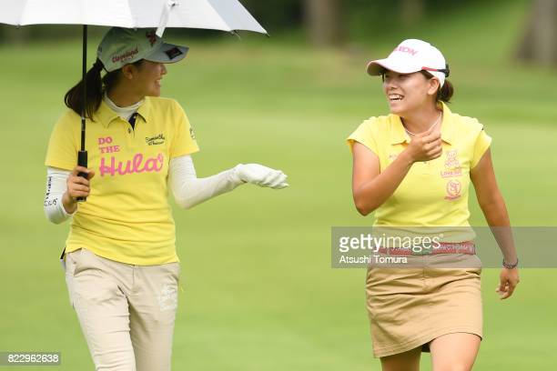 Minami Katsu of Japan and Hina Arakaki of Japan smile during the second round of the LPGA ProTest at the Kosugi Country Club on July 26 2017 in Imizu...
