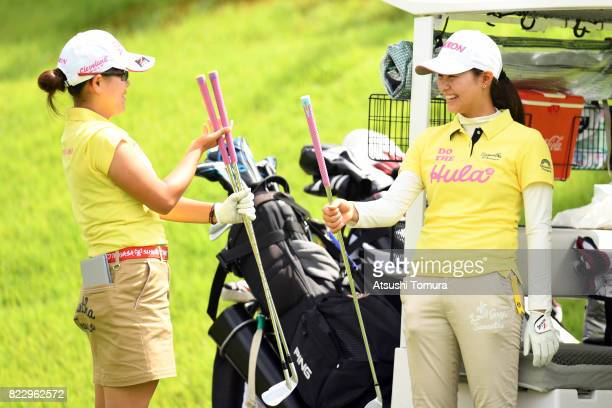 Minami Katsu of Japan and Hina Arakaki of Japan smile during the rest of the first round of the LPGA ProTest at the Kosugi Country Club on July 26...