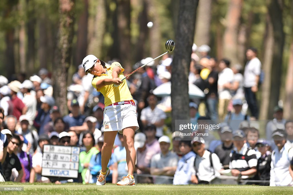 <a gi-track='captionPersonalityLinkClicked' href=/galleries/search?phrase=Minami+Katsu&family=editorial&specificpeople=12708815 ng-click='$event.stopPropagation()'>Minami Katsu</a> of Japan hits her tee shot on the 12th hole during the first round of the World Ladies Championship Salonpas Cup at the Ibaraki Golf Club on May 5, 2016 in Tsukubamirai, Japan.