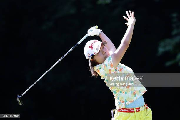 Minami Katsu of Japan plays a tee shot on the 5th hole during the final round of the Chukyo Television Bridgestone Ladies Open at the Chukyo Golf...