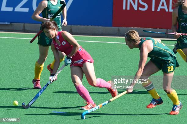 Minami Shimizu of Japan and Nicolene Terblanche of South Africa during day 8 of the FIH Hockey World League Women's Semi Finals 5th6th place match...