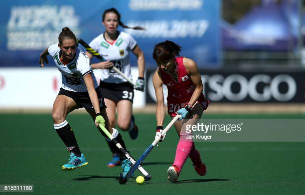 Minami Shimizu of Japan controls the ball from Cecile Pieper of Germany during day 5 of the FIH Hockey World League Women's Semi Finals Pool A match...