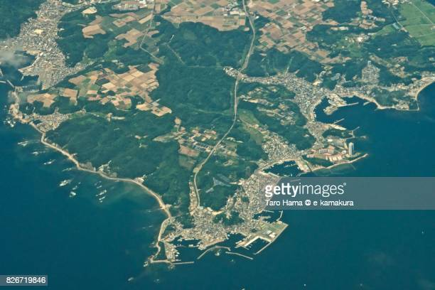 Minamichita town in Aichi prefecture day time aerial view from airplane