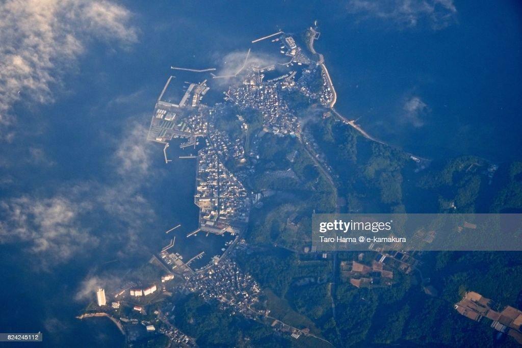 Minamichita town in Aichi prefecture daytime aerial view from airplane : ストックフォト
