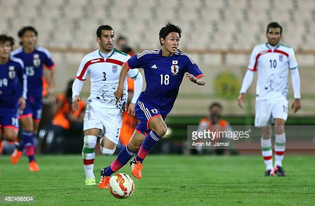 Minamino Takumi in action during the international friendly match between Iran and Japan at Azadi Stadium on October 13 2015 in Tehran Iran
