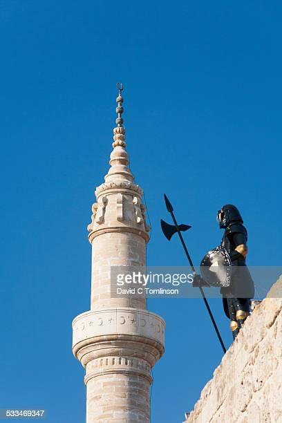 Minaret and statue, Rhodes Town, Rhodes, Greece