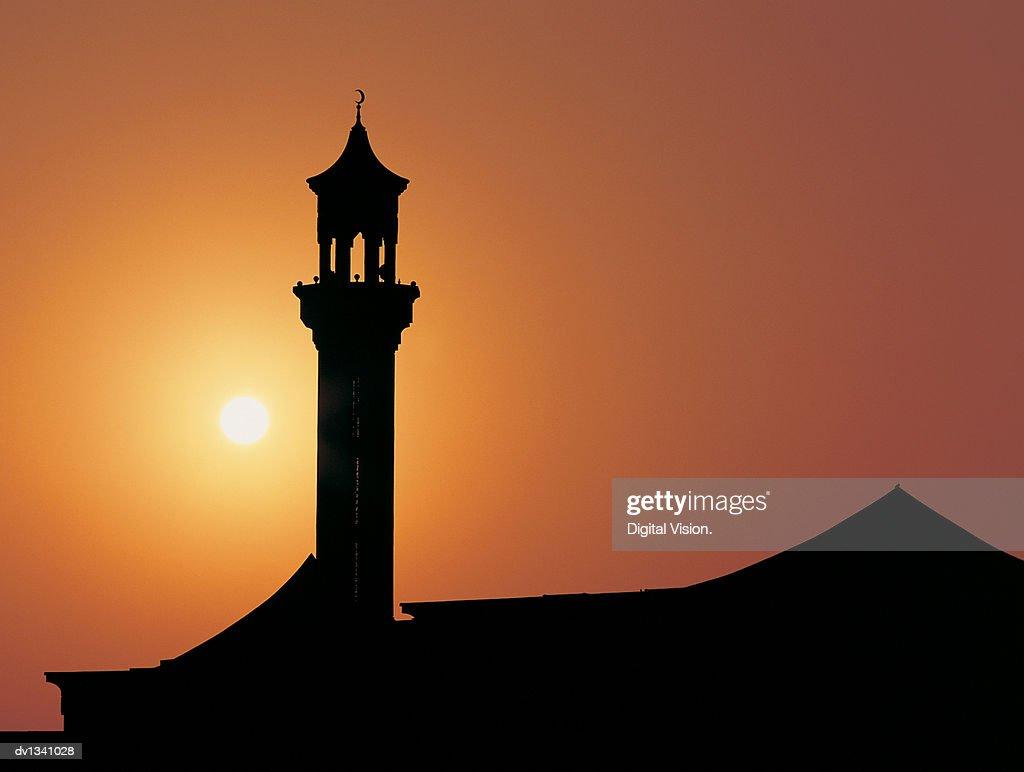 Minaret Backlit By a Sunset, Dubai