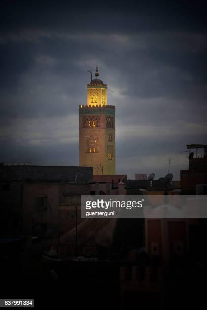 Minaret of Koutoubia Mosque at dusk, Marrakesh, Morocco