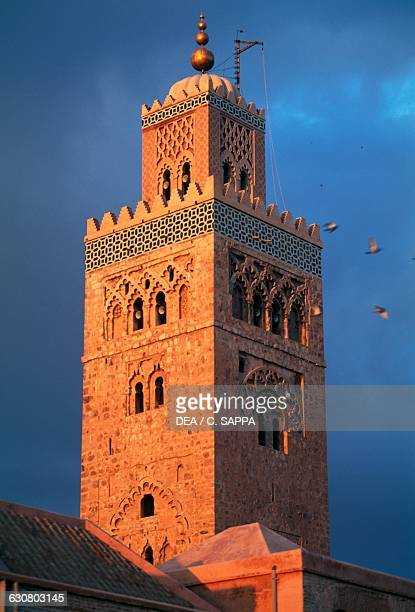 Minaret of the Koutoubia Mosque or Kutubiyya Mosque 12th century Marrakech medina MarrakechTensiftEl Haouz Morocco