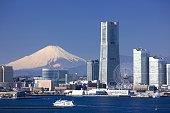Minato Mirai 21 buildings and Mt Fuji