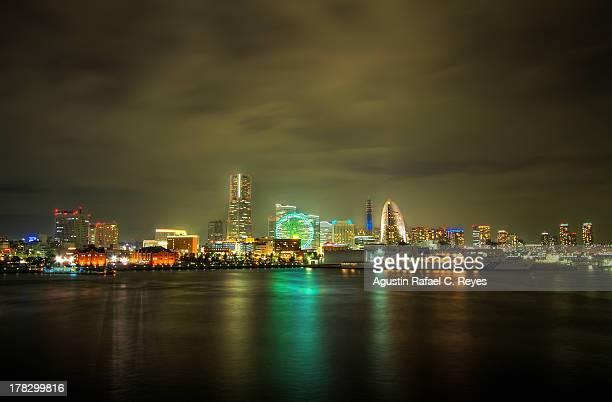 Minato Mirai skyline from Osanbashi Pier at night