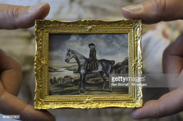 A minature version of a painting by George Stubbs made by Ellie de Lacy who uses gouche or watercolours to recreate her miniature paintings which...