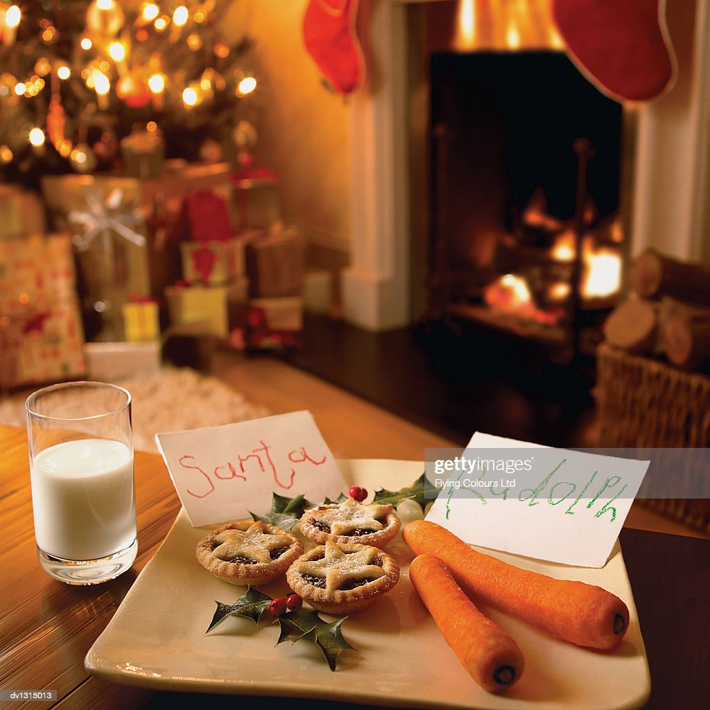 Mince Pie, Carrots and a Glass of Milk in a Living Room in Anticipation of Father Christmas