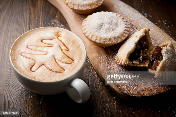 mince pies with festive coffee