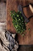 Minced cilantro on cutting board