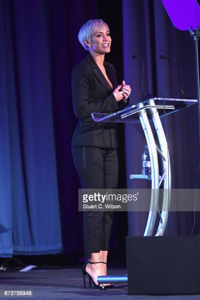 Mind ambassador Frankie Bridge speaks on stage at the Virgin Money Giving Mind Media Awards at Odeon Leicester Square on November 13 2017 in London...