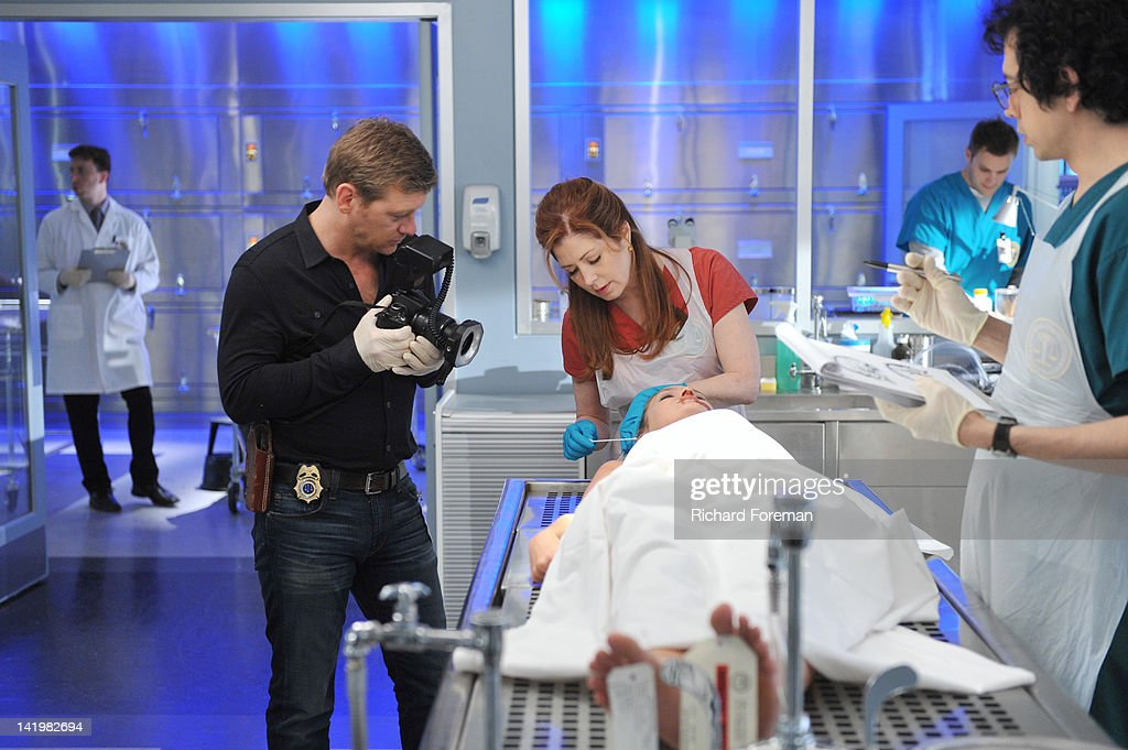 PROOF - 'Mind Games' - When a cause of death seems all too familiar, Megan is forced to come face to face with a serial killer she helped put away, on the Season Finale of 'Body of Proof,' TUESDAY, APRIL 10 (10:01-11:00 p.m., ET) on the ABC Television Network. NICHOLAS BISHOP, DANA DELANY, NATALIE TURPIN (ON TABLE), GEOFFREY