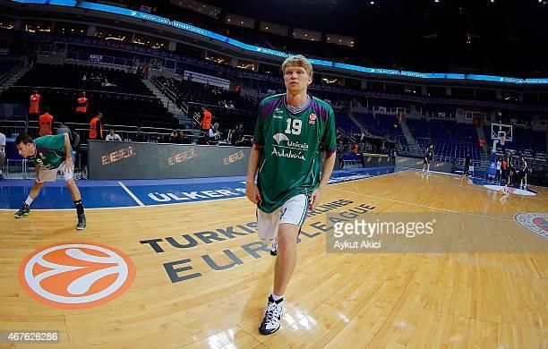 Mindaugas Kuzminskas #19 of Unicaja Malaga warmsup prior to the Turkish Airlines Euroleague Basketball Top 16 Date 12 game between Fenerbahce Ulker...