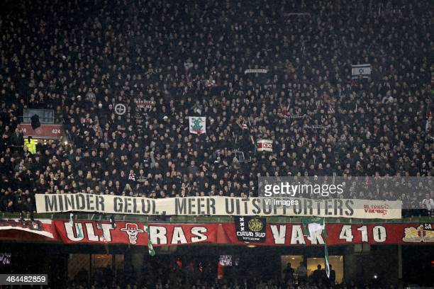 Minder gelul meer supporters Ultras vak 410 ajax banner during the Dutch cup match between Ajax Amsterdam and Feyenoord at Amsterdam Arena on January...